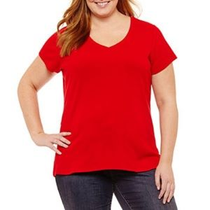 Plus Size St. John's Bay Red V-Neck Tee